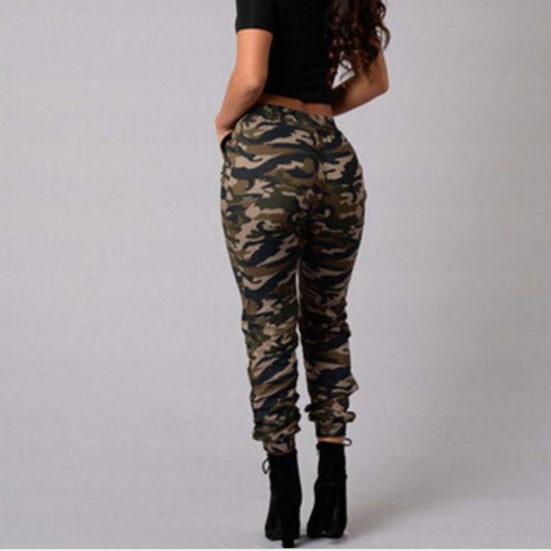 New Fashion European Ladies Casual Elastic Waist Camouflage Pants for Women K-004