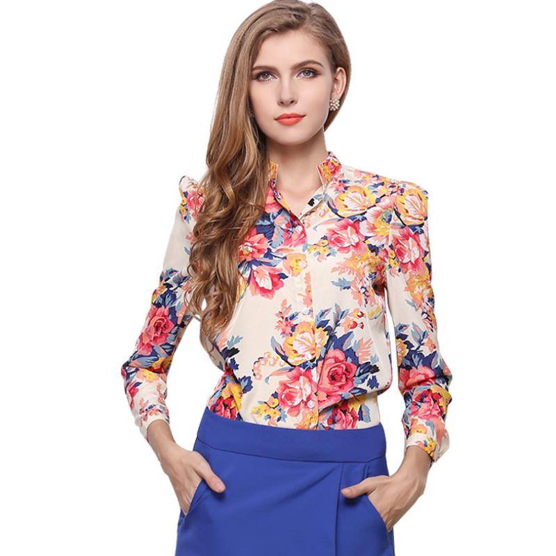 Slim plus size cheap floral women blouses ZS-006