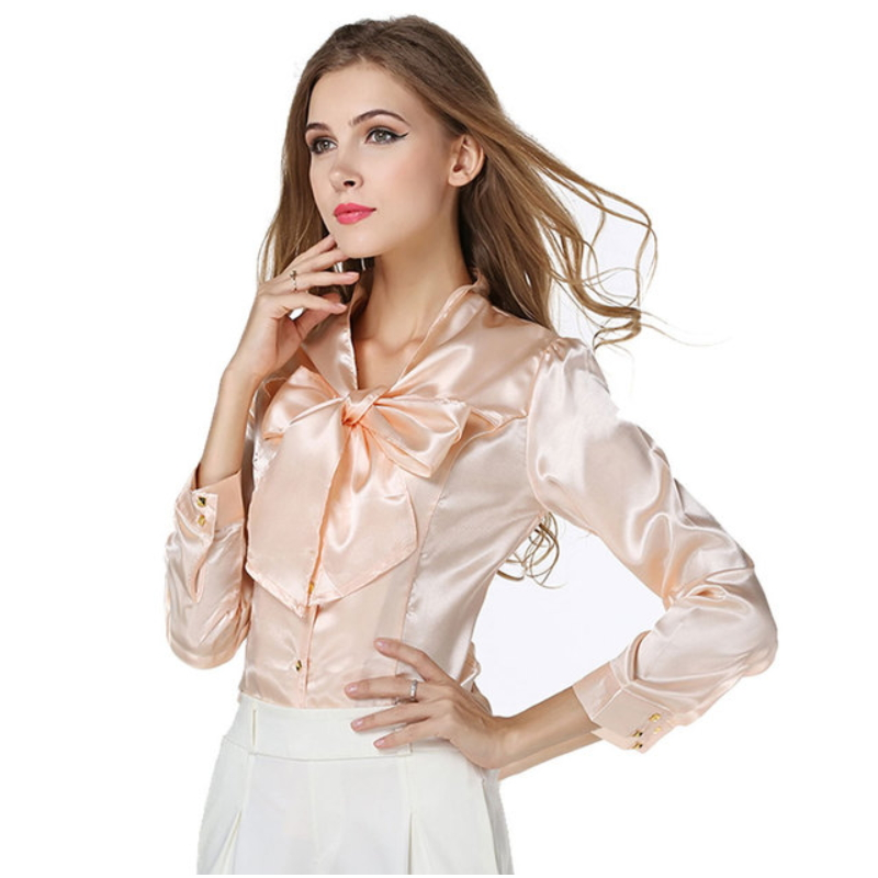 Elegant women satin shirt blouse ZS-004