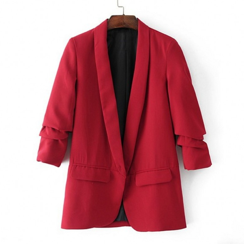 European Fashion Women Twill sleeve pleated casual blazer X-001