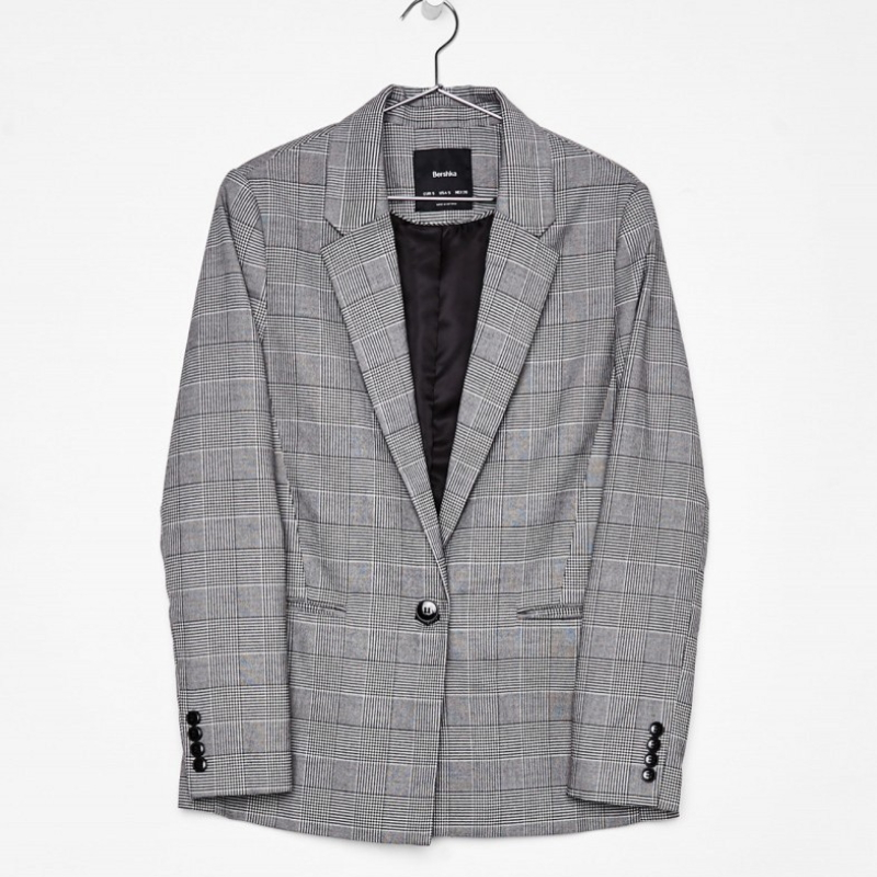 Oversized Casual Office Wear Checked Blazer For Women X-002