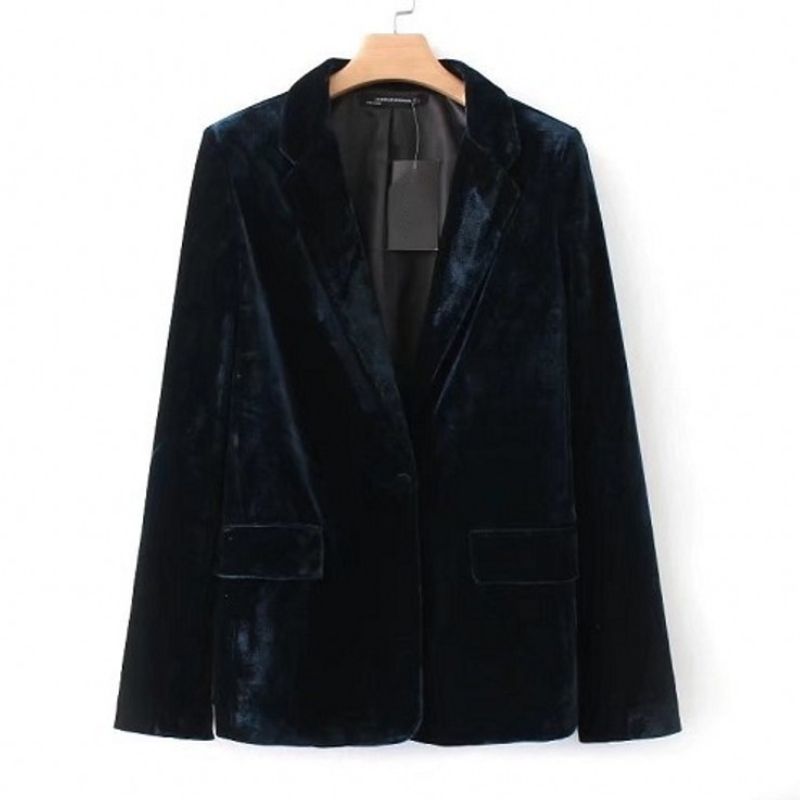 Women's fashion solid color slim velvet casual blazer top coat X-004