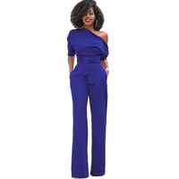 Fashion solid one shoulder women elegant jumpsuits women Dy-11