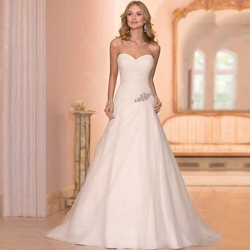 Strapless Sweetheart Appliques Button Back Chiffon Chapel Train Bridal Dresses H-003