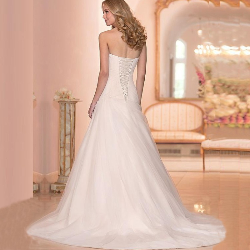 Strapless Sweetheart Appliques Button Back Chiffon Chapel Train Bridal Dresses H-003