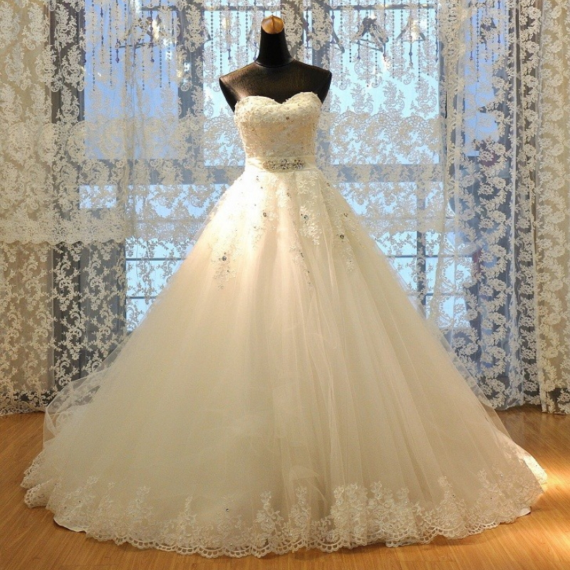 Stunning real sample off shoulder ball gown bridal wedding dress H-004