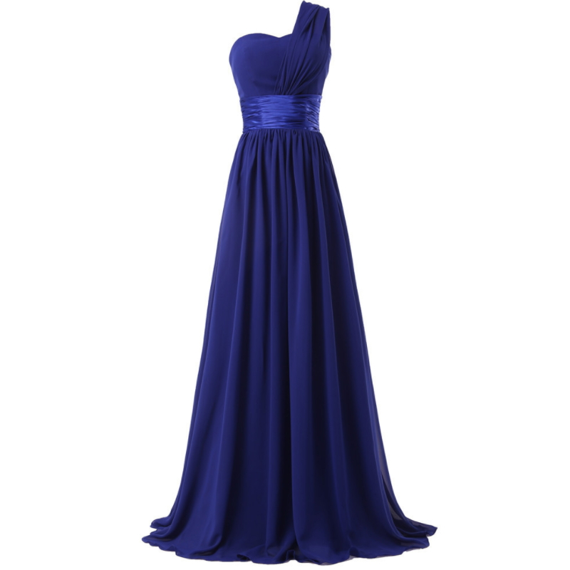 Ladies one shoulder navy blue chiffon long evening dress W-001