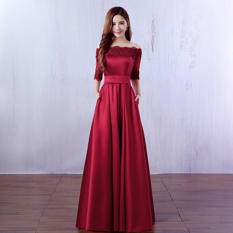 Women clothing dress charming slim strapless shoulder ball gown dress W-002