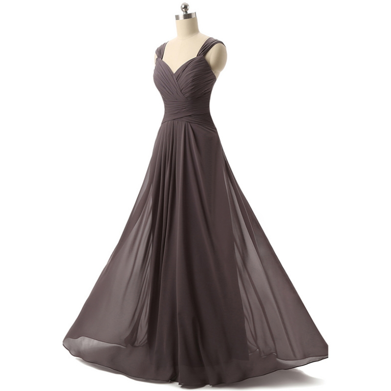 Chiffon backless floor-length long evening dress W-004