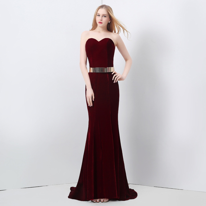 Fashion Slim red velvet evening dress W-005