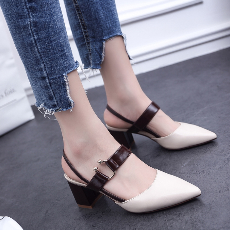 Real Leather Pointed Toe Block Heel Shoes Ladies High Heel Pumps S-010
