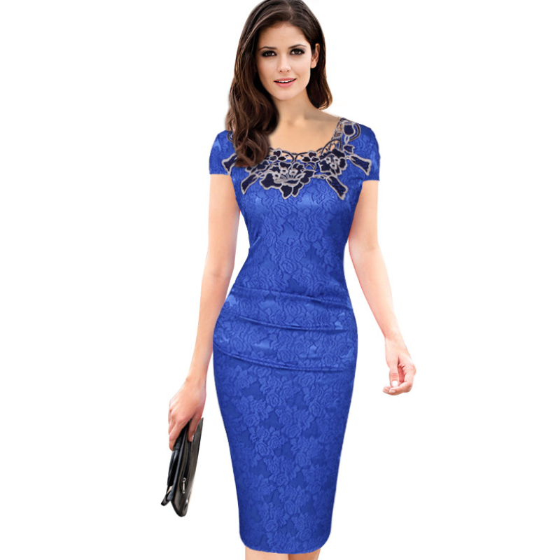 women's dress short-sleeved elegant tight pencil skirt rose lace skirt  MF-001