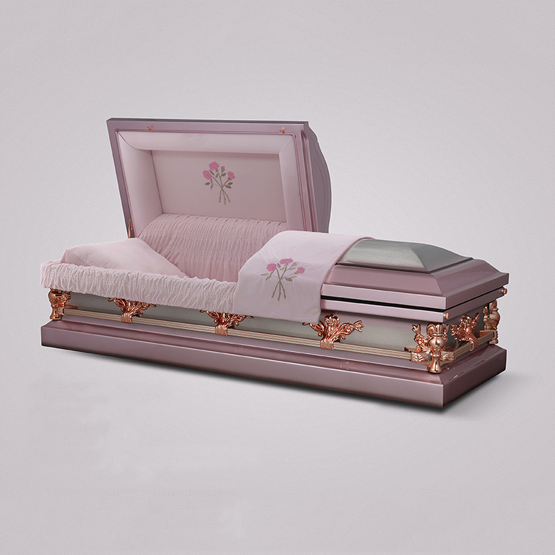 Hot sale stainless white velvetr interior steel coffin manufacturers china