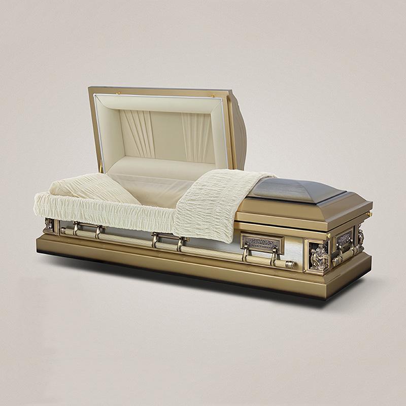Reasonable price stainless steel almond velvetr interior coffin furniture