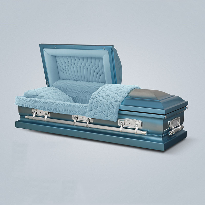 Top selling high quality stainless steel grey velvetr interior adult coffin