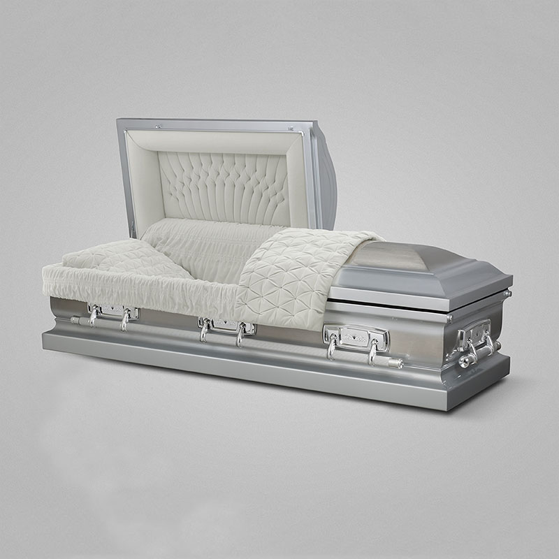 Hot selling silver rose shaded silver finish stainless steel coffin beds