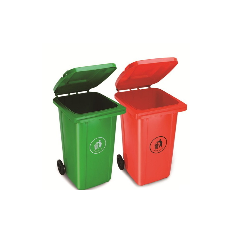 Outdoor Large Plastic Garbage Bin Trash Can Wastebin with Wheels ZE-240H