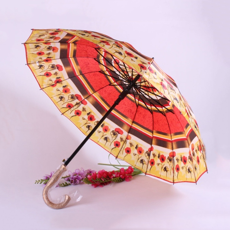 Wholesale Economical Advertising Flower Printed Cheap Long Handle Umbrella