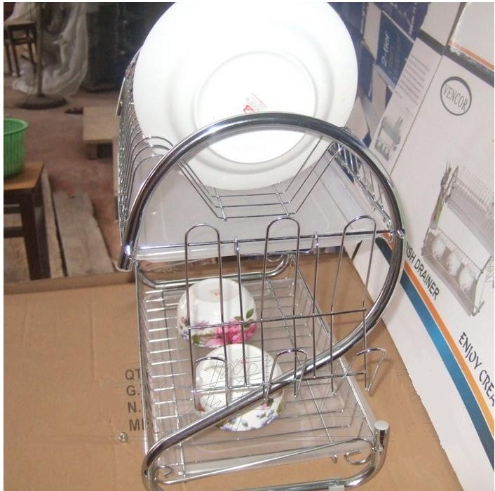 Kitchen Stainless Steel Cabinet Plate Dish Draining Storage Rack