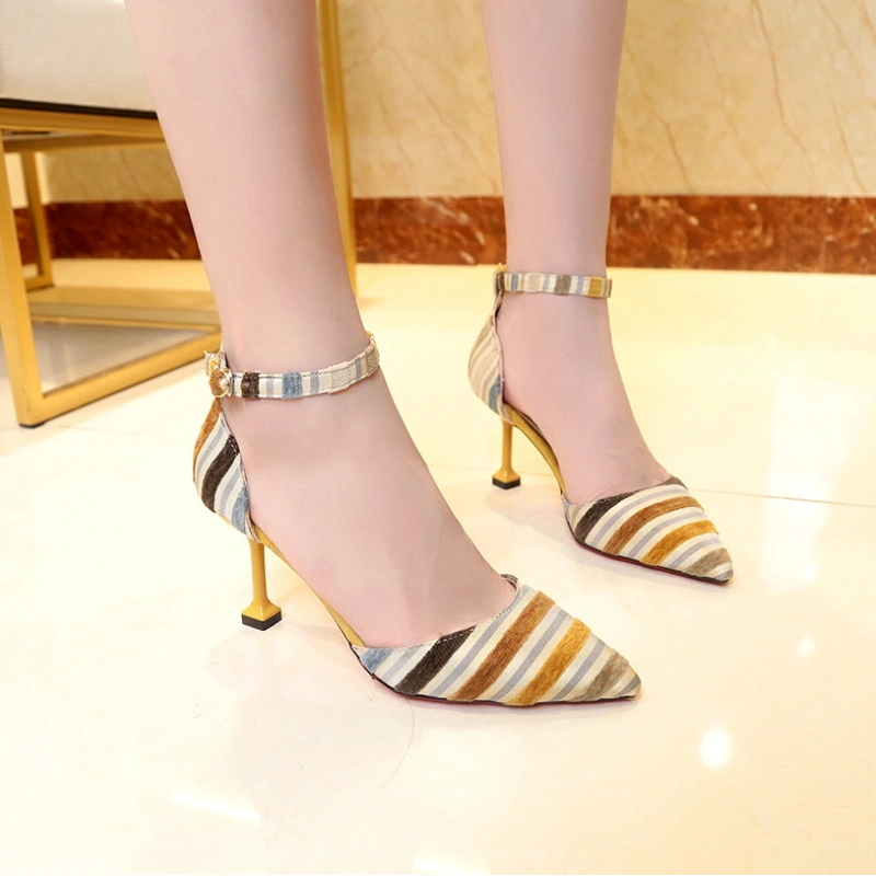Ladies Thin Heel Thin Strap Sexy Golden Shiny Shoes Pumps Women High Heels