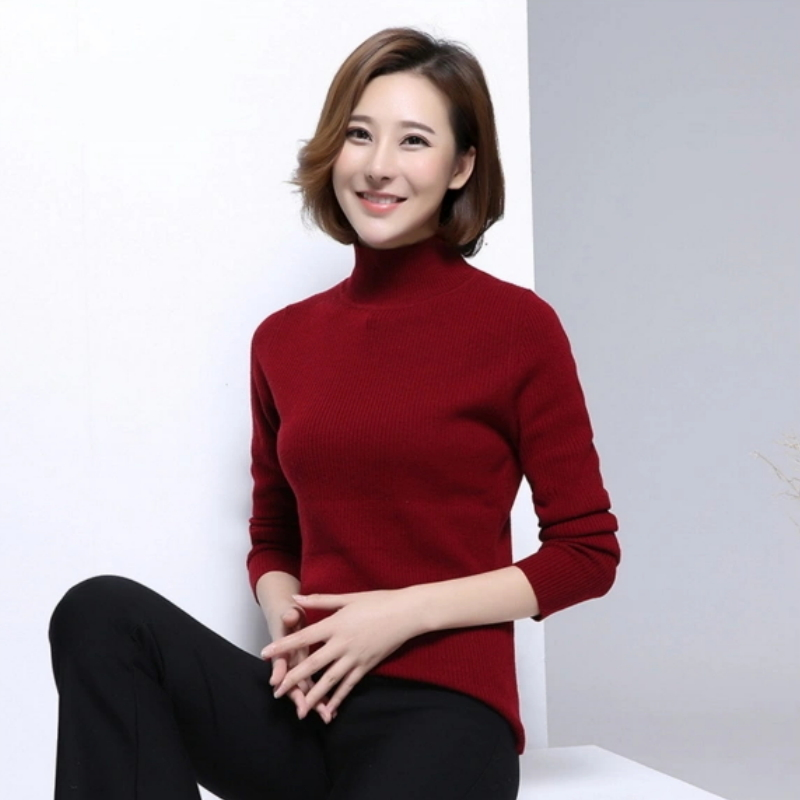 Relaxed-Fit Turtleneck Women Pure Cashmere Sweater