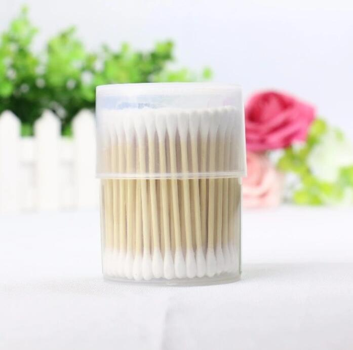 Double Tips Customized Logo Bamboo Stick Cotton Buds Wholesale CB-001