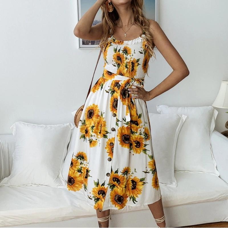 Summer All-Match Women Short Floral Beach Dresses
