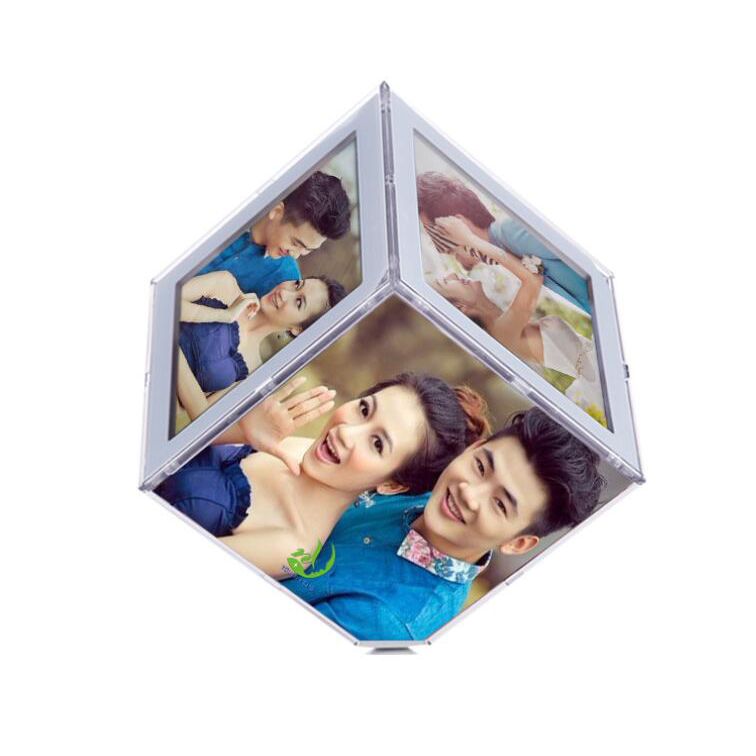 good quality acrylic rotating photo cube frame RF-002