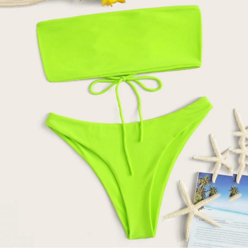 High Waist Bikini Custom Made Bandeau Swimwear Girls Swimsuit