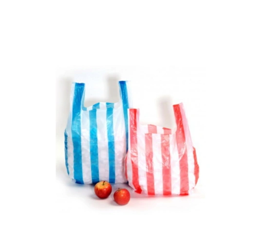 Color Stripe Plastic T Shirt Bags Cheap