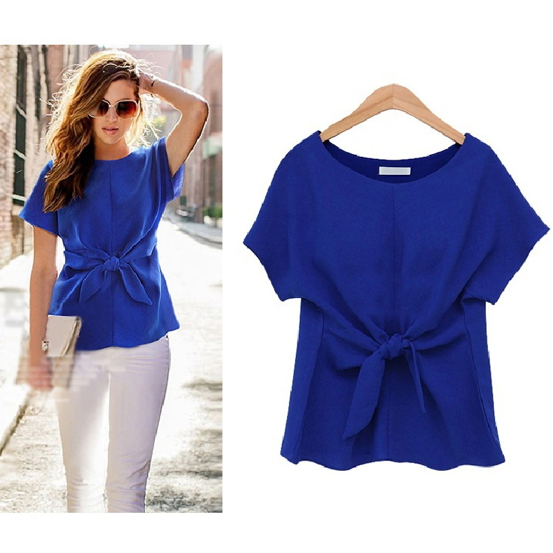 Short-Sleeved Bow Tie Chiffon Blouse Neck Designs Latest