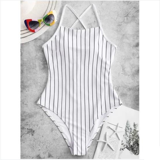 Stripe One-Piece Swimsuit Women 2019 Beach Bathing Suit Swimwear