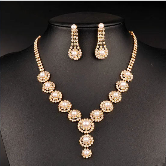 Gold Plated Diamond Necklace with Pearl