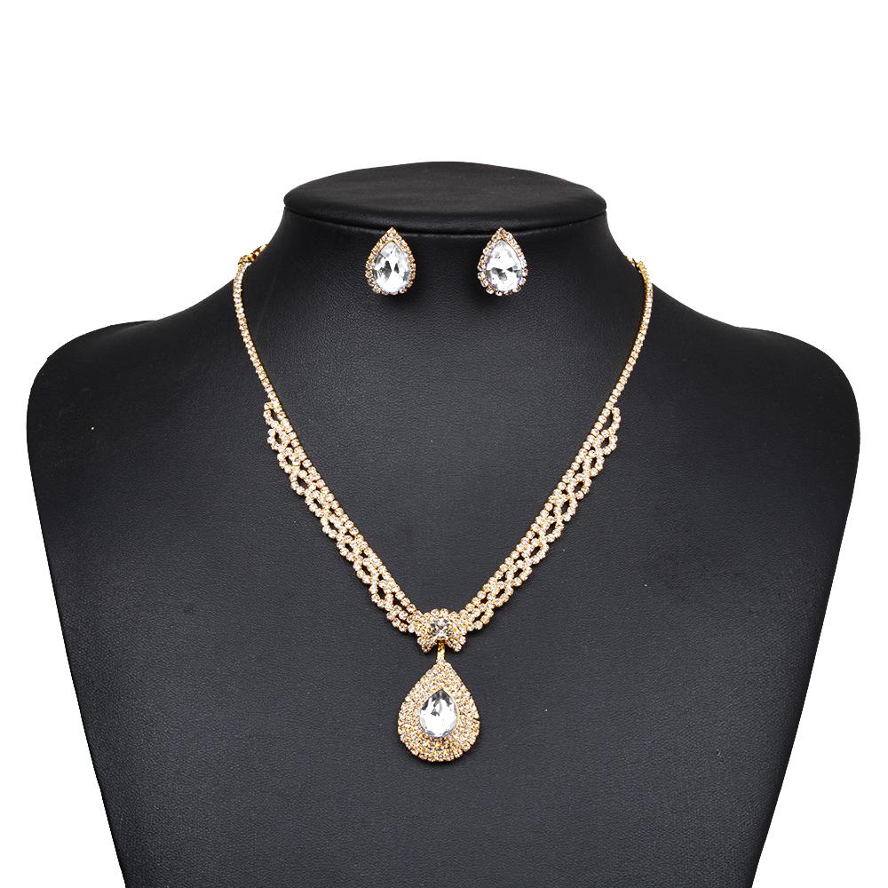 China Gold Factory Wholesale Wedding Rhinestone Bijoux Jewelry Gift Set
