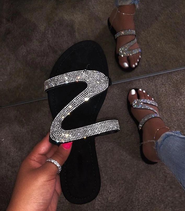 Rhinestone Slide Sandals Ladies Flat Slipper