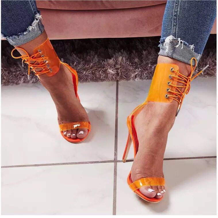 Women Clear Chunky High Heel Sandals Open Toe Block Heel Slippers