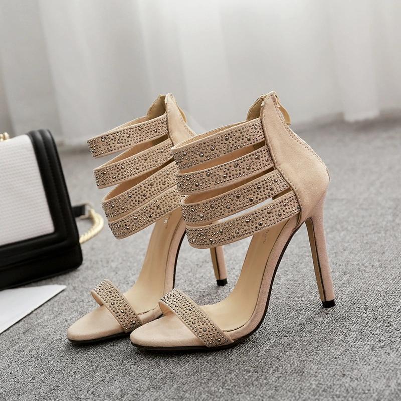 European Elegant Tassel Chain High Heel Sandals Woman Shoes High Heel Sandals