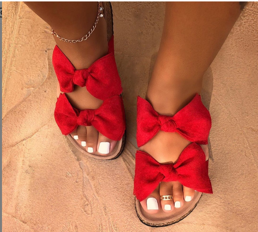 Women's Shoes Bow Flat Bottom Ladies Beach Shoes Slippers