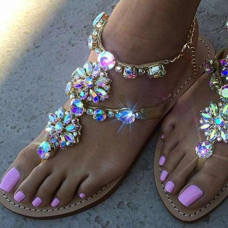 Summer Fashion Pin Toe Flat Buckle with Wild Women′s Sandals