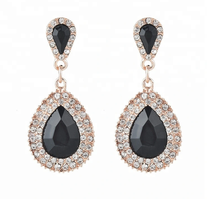 China Jewelry Women Luxury Full Diamond Drop Zircon Earrings
