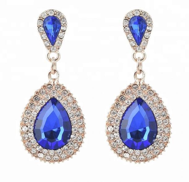 China Jewelry Women Luxury Full Diamond Drop Zircon Earrings