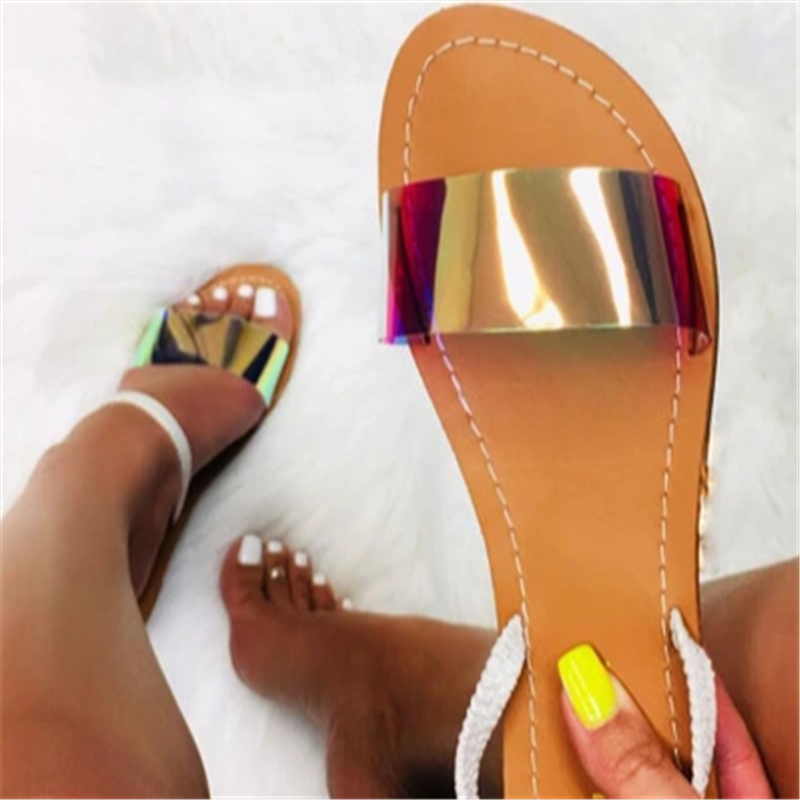 Popular Women's Shoes Sandals Crystal Flats Shoes