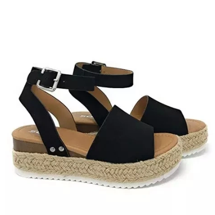 Leopard Espadrilles Platform Shoes Women Wedge Buckle Open Toe Ladies Sandals