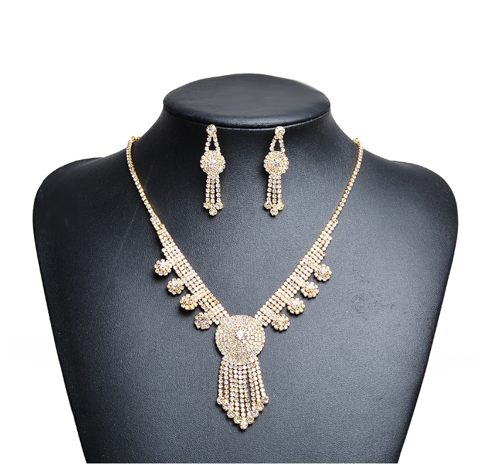 Fashion Women Accessories Dubai Gold Crysal Wedding Jewelry Set