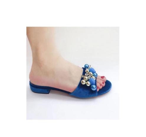 African Women Suede Flower Flat Slippers for Girls