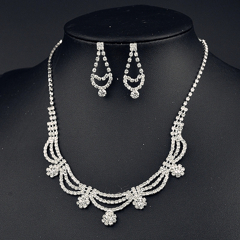 Handmade Rhinestone Earring Sets Wedding Jewellery Jewelry Set