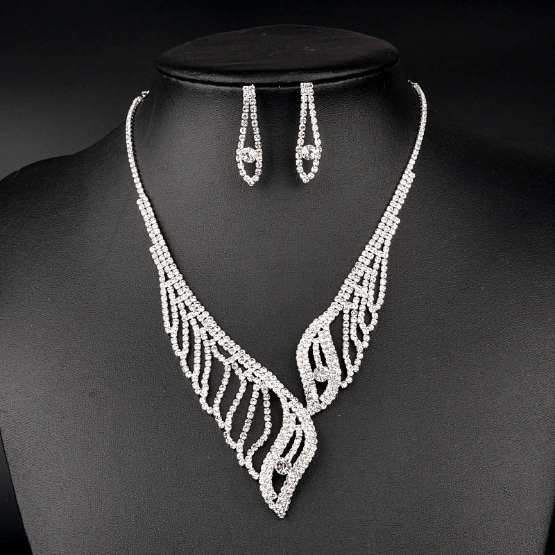 Silver Rhinestone Bridal Wedding Necklace Earring Bijoux Joyeria