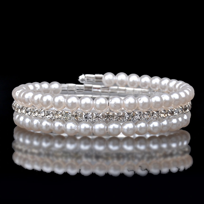 Beading Pattern Pearl Diamond Weave Elastic Wrap Bracelet Wedding Bridal White Pearl Crystal Multilayer Bracelet