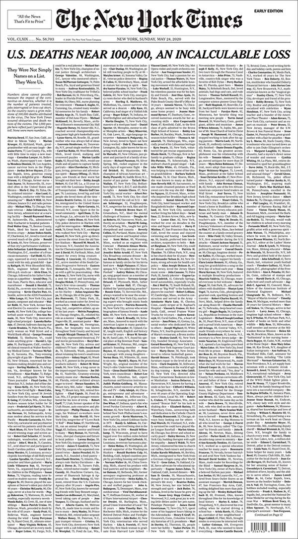 U.S. COVID-19 death toll nears 100,000, New York Times calls it