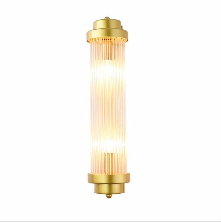 Postmodern minimalist creativity decoration e14 antique copper wall crystal lamp